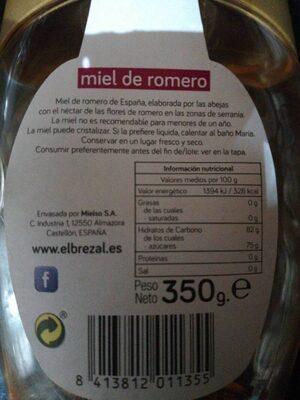 Miel de romero - Información nutricional - es