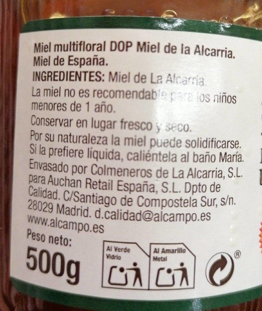 Miel multifloral - Información nutricional - es