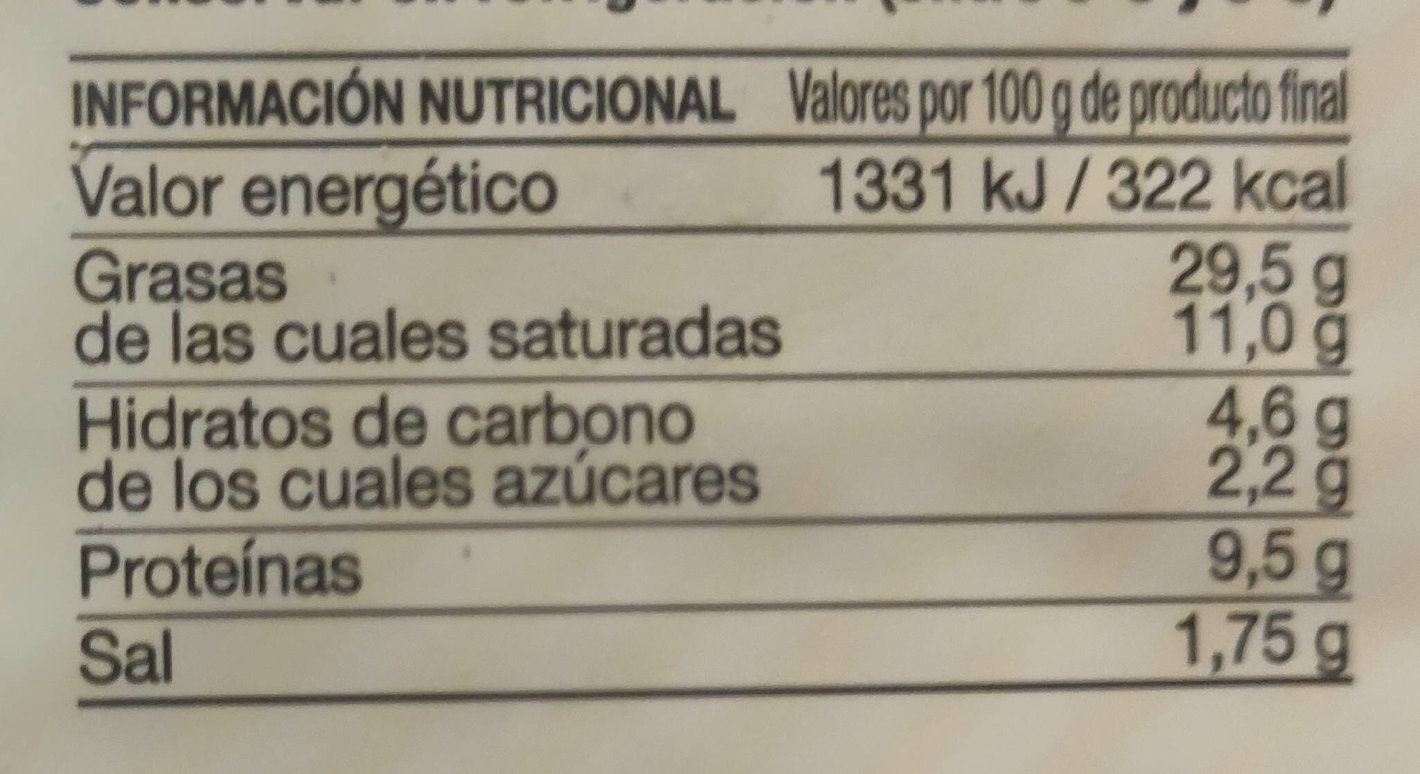 Paté finas hierbas - Nutrition facts