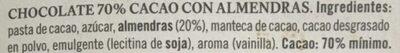 Chocolate cacao con almendras - Ingredientes