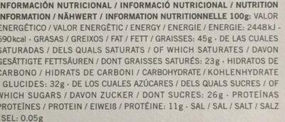 Chocolate cacao con almendras - Información nutricional