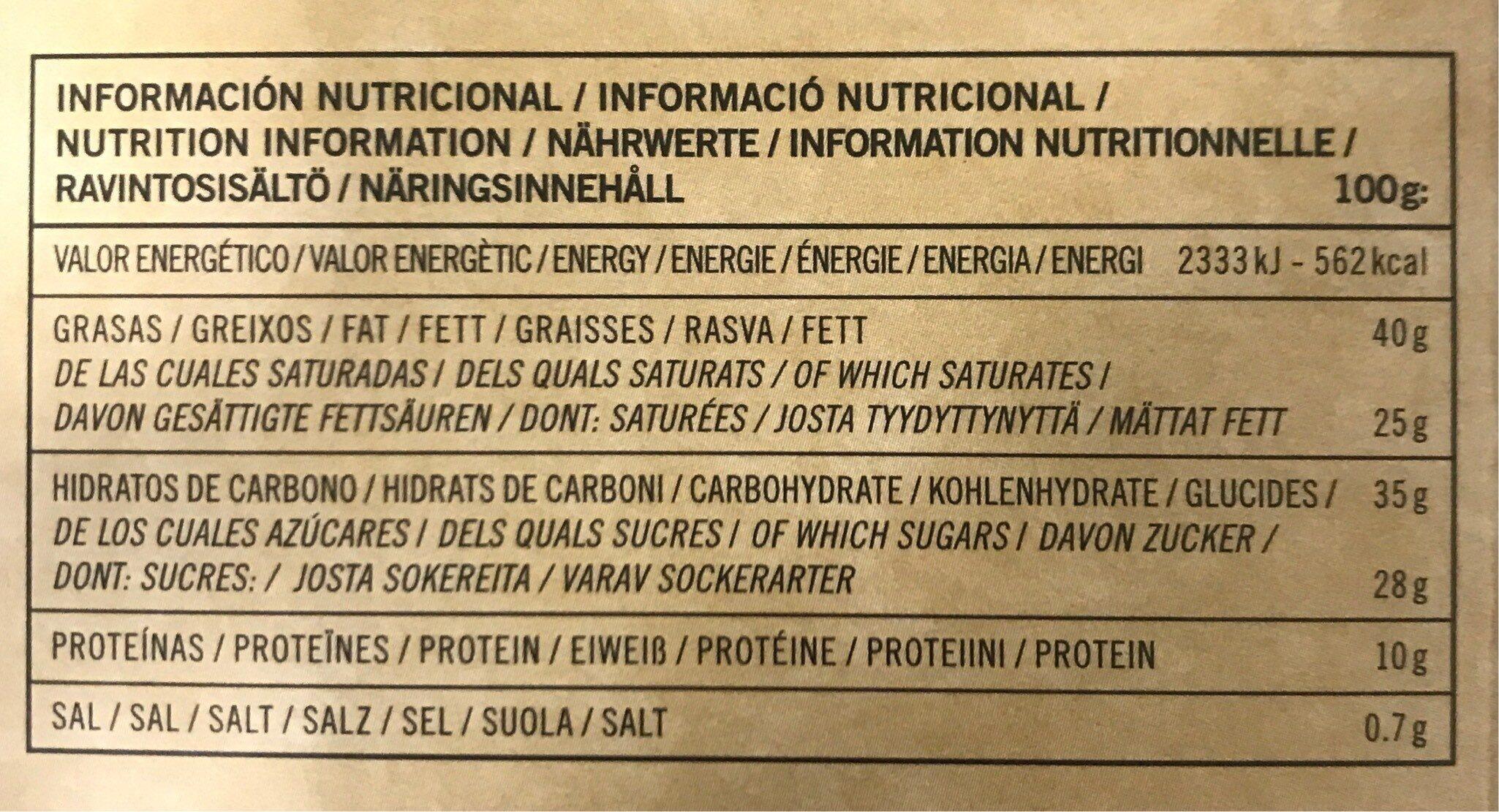 Chocolate 70 cacao y sal de mar - Información nutricional