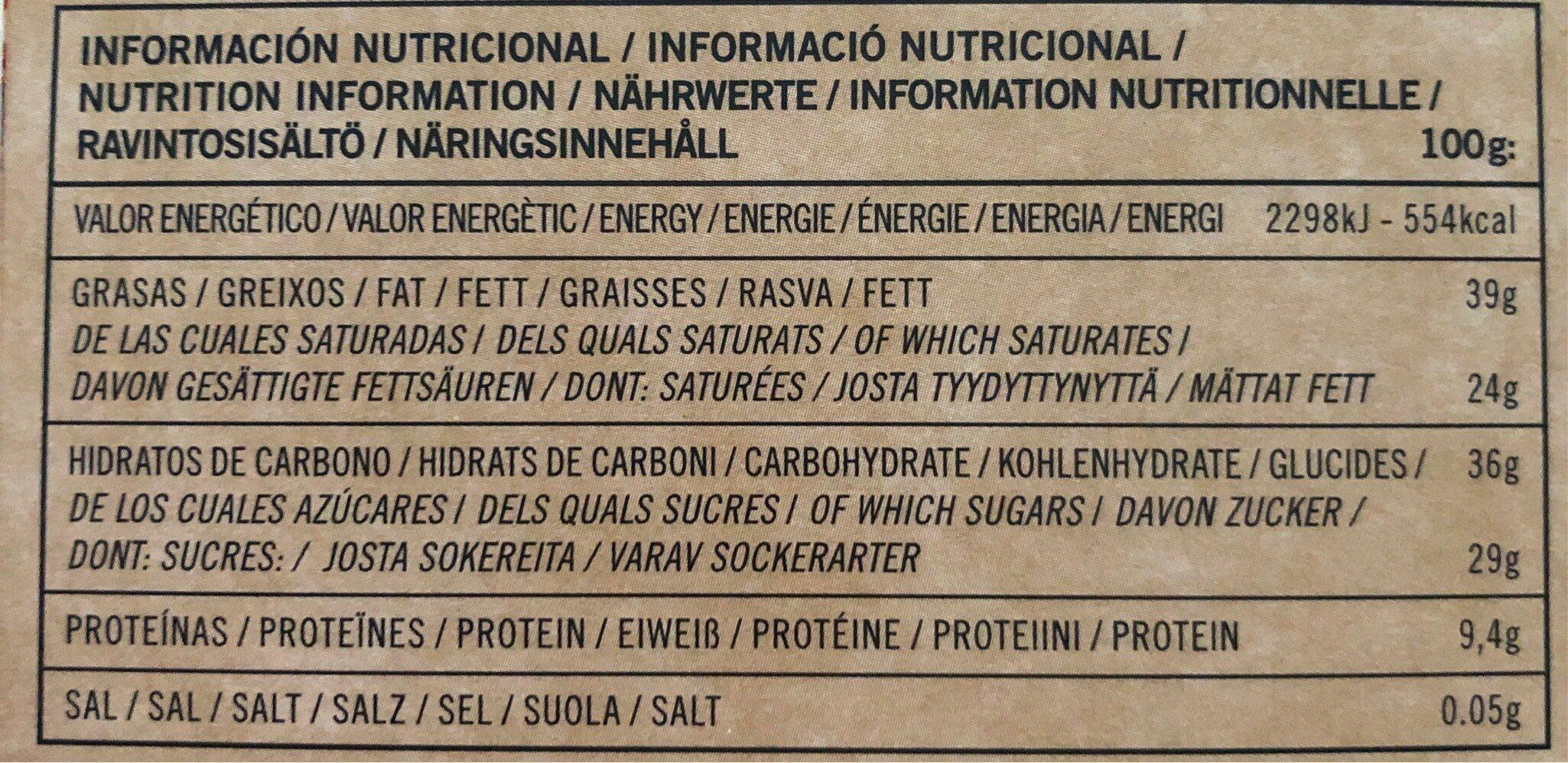 70% Cacao con Naranja - Información nutricional