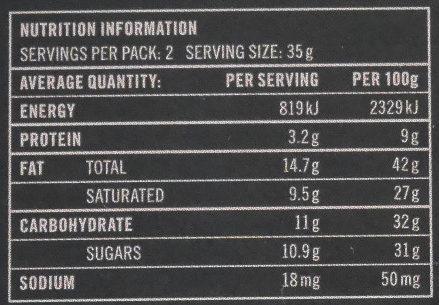 Grand Cru Ghana, Zartbitterschokolade 70 % - Información nutricional