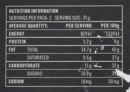70% cacao origen Ecuador - Información nutricional