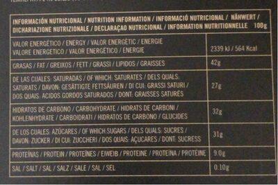 70% Cacao Origen Ecuador - Información nutricional - es
