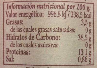 Garbanzanos al natural extra - Informació nutricional