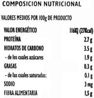 """Espárragos verdes congelados """"JV"""" - Informations nutritionnelles - es"""