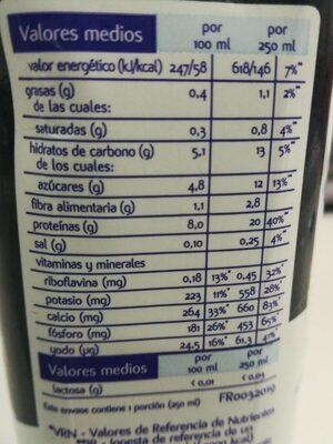 Batido proteína al cacao - Informação nutricional - es