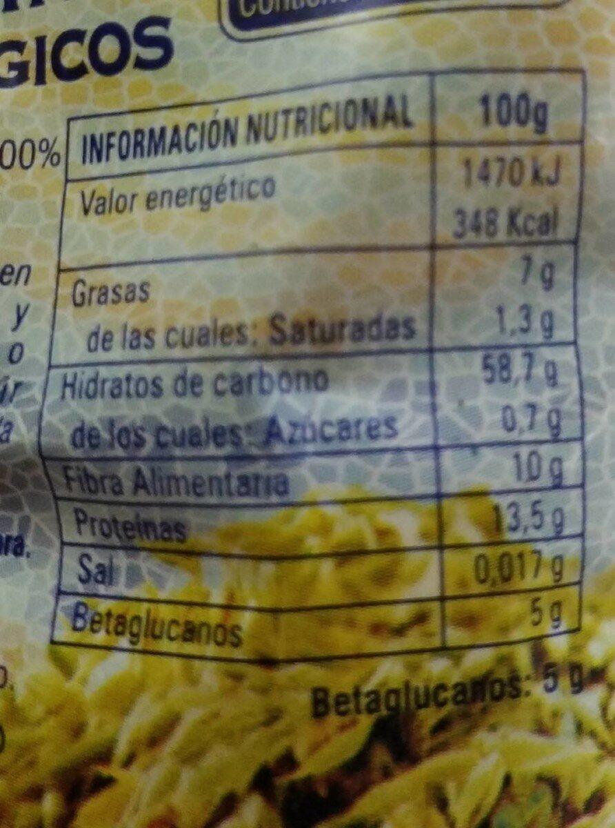 Copos integrales de Avena mini - Información nutricional