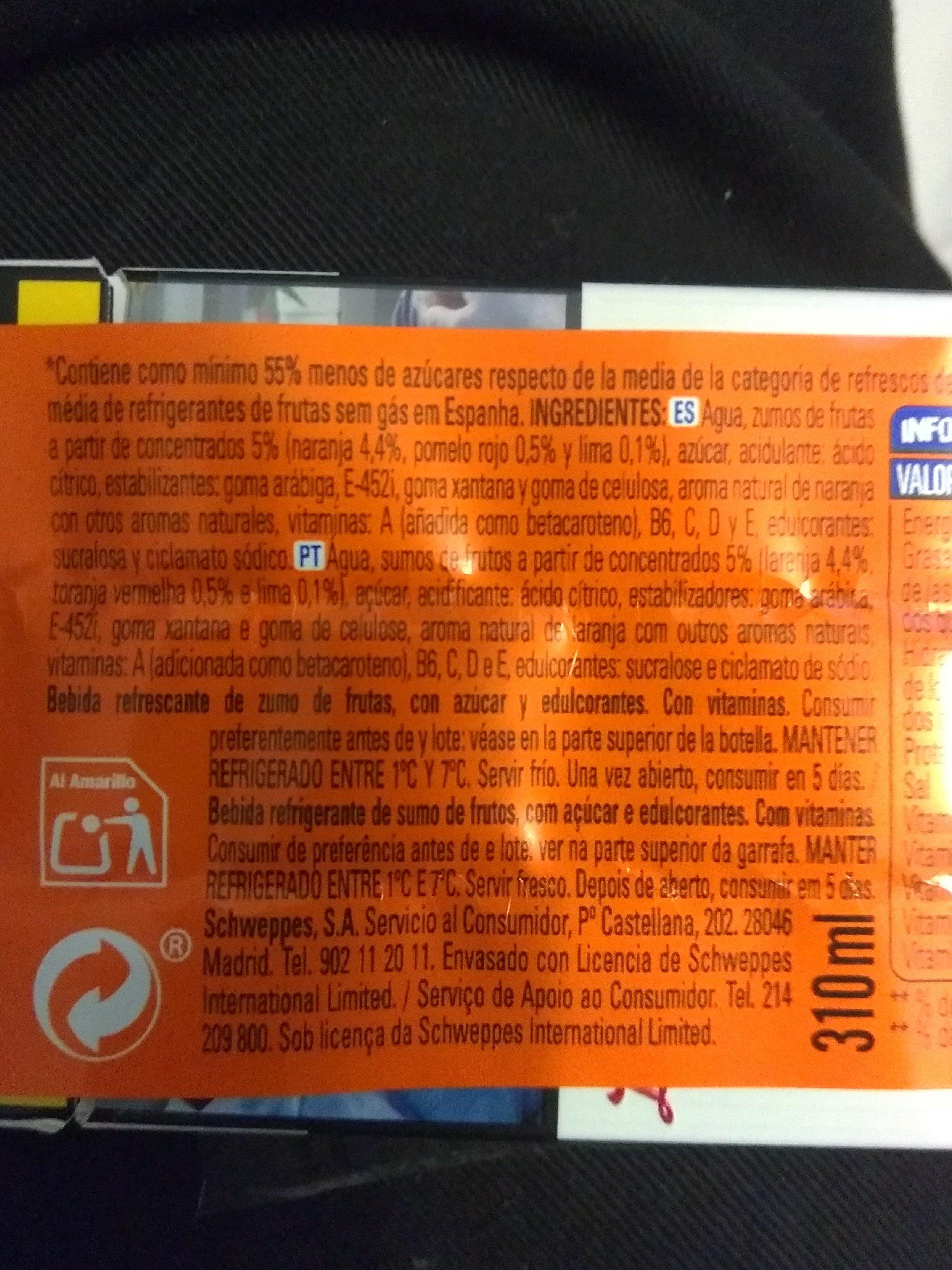 Florida refresco sabor multifrutas naranja, pomelo rojo y lima - Ingrédients