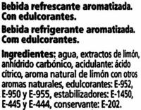 Zero refresco de limón sin azúcares añadidos - Ingrediënten - es