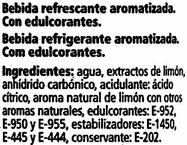 Zero refresco de limón sin azúcares añadidos - Ingredientes - es