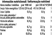 Refresco de naranja Original - Información nutricional
