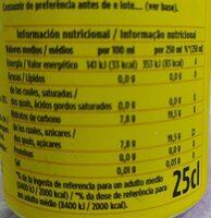 Tónica schweppes - Información nutricional - es