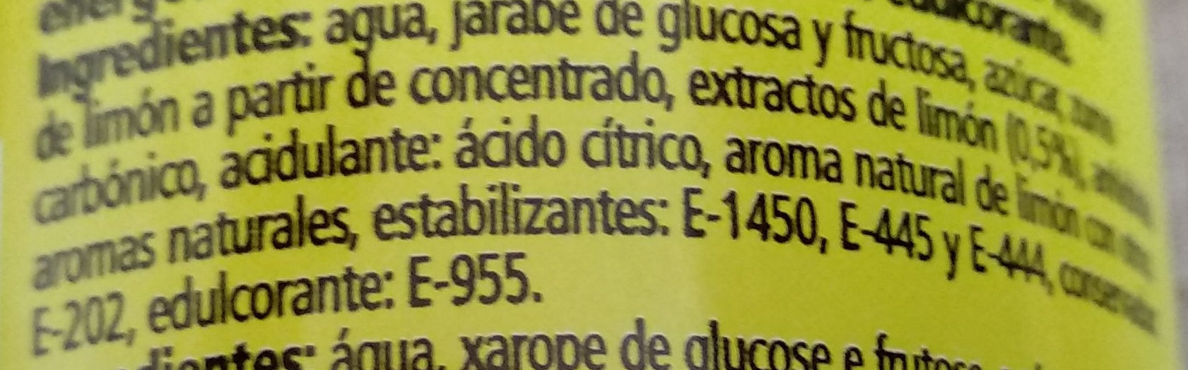 "Schweppes-lemon Soda-250ml-limã""n Original Form-spain - Ingrédients - es"