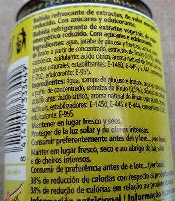 "Schweppes-lemon Soda-250ml-limã""n Original Form-spain - Ingredientes"