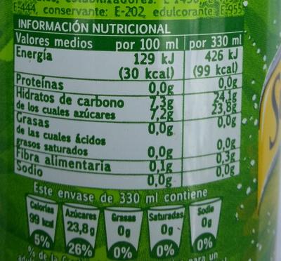 Limón spirit - Información nutricional - es