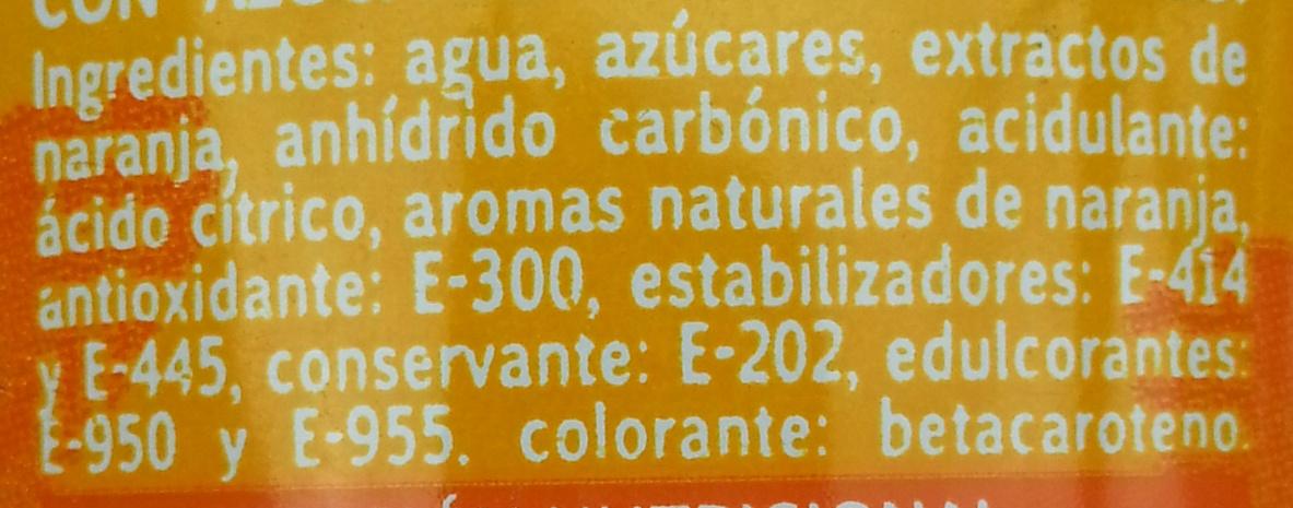 Schweppes naranja spirit - Ingredientes - es