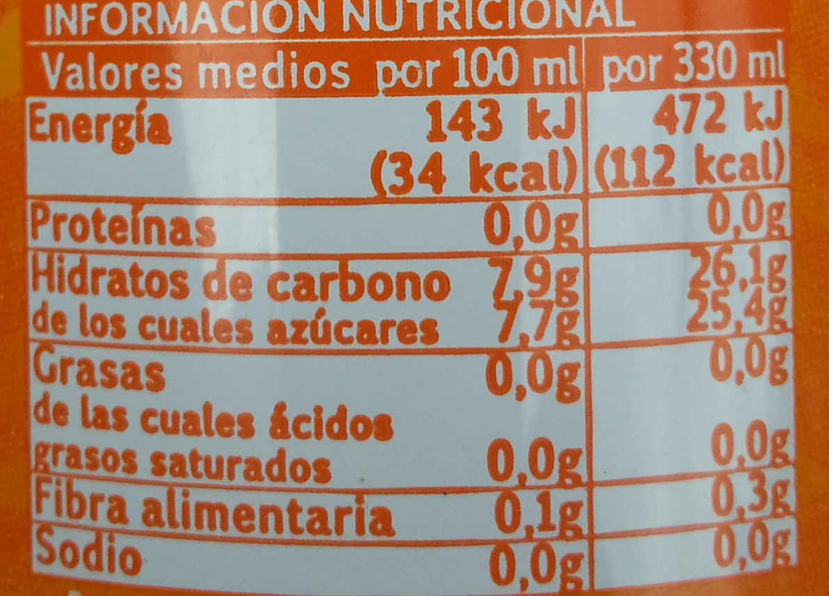 Schweppes naranja spirit - Información nutricional - es