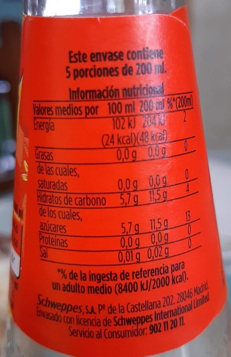 Schweppes Citrus - Información nutricional - es