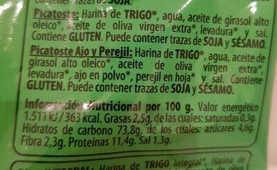 Picatoste bio natural - Información nutricional - es