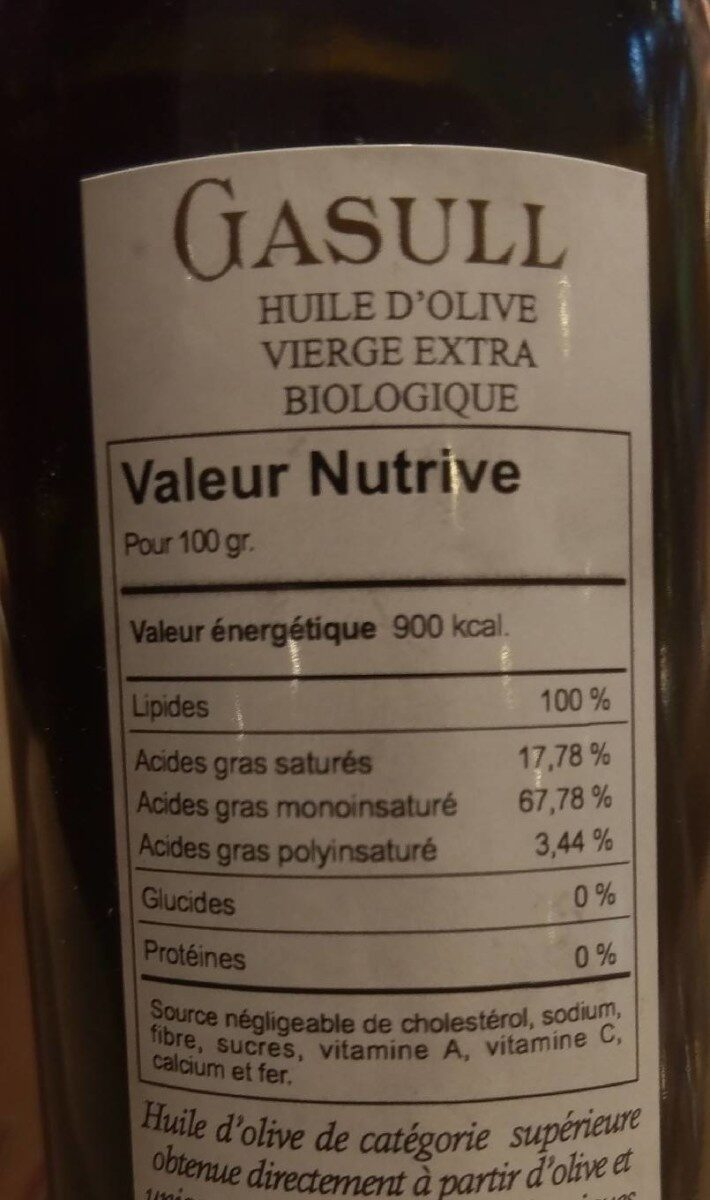 Gasull huile d'olive extra vierge biologique - Nutrition facts