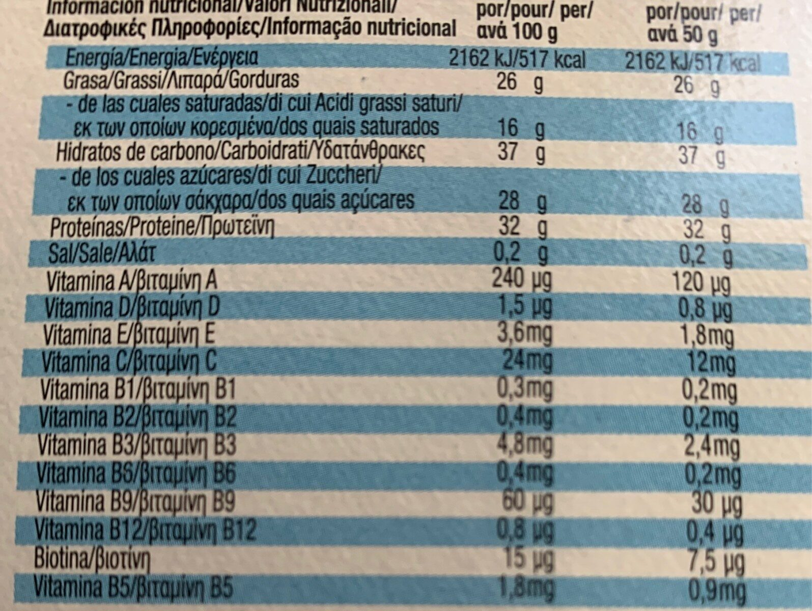 Recovery Bar - Informations nutritionnelles - es