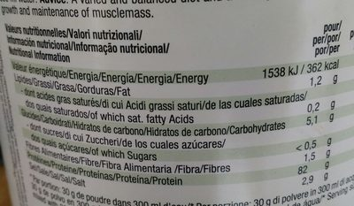 Vegan protein vanilla - Informations nutritionnelles