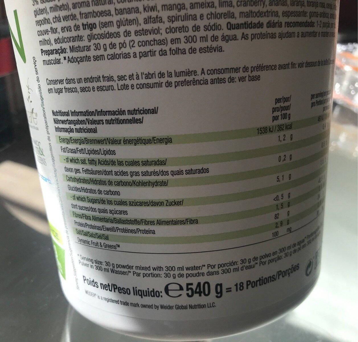 Vegan Protein - Vanilla flavour - Informations nutritionnelles - es