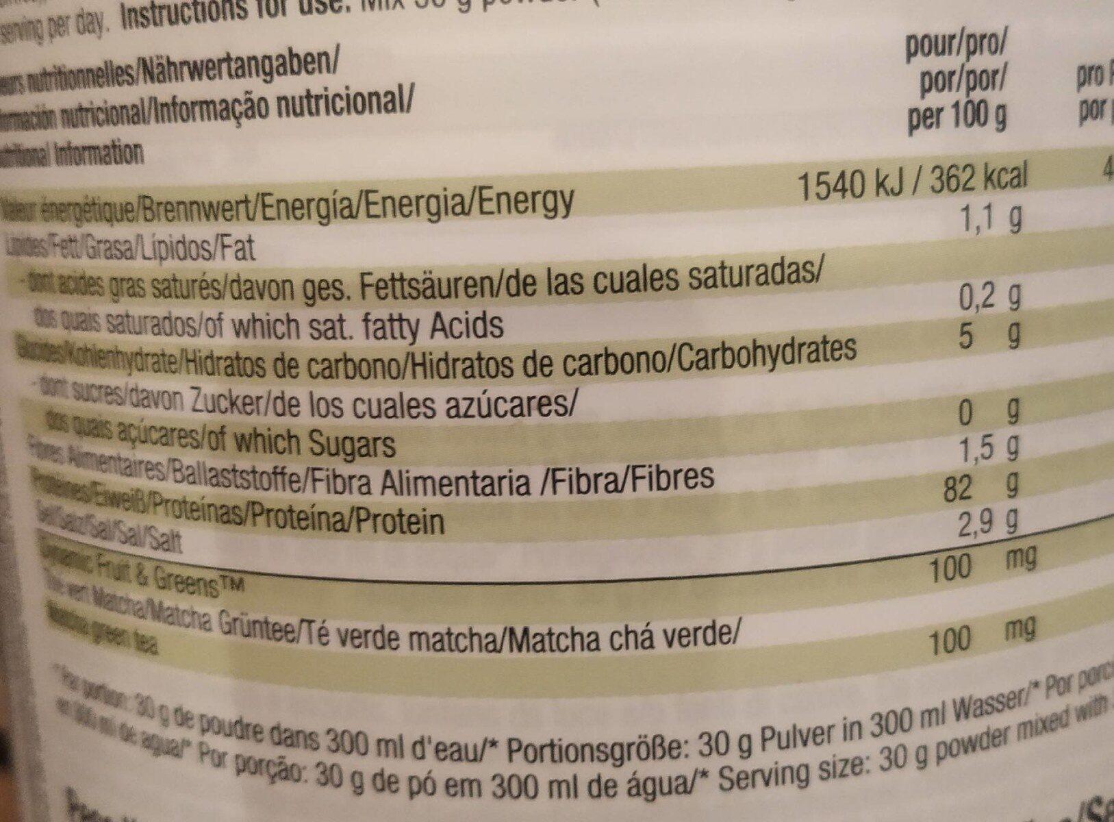Vegan Protein - Informations nutritionnelles - es