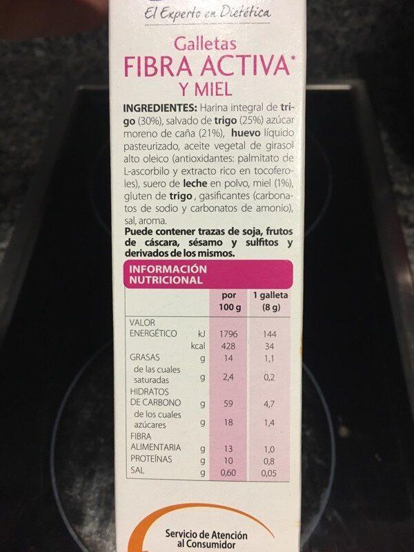 Galletas fibra activa y miel - Informació nutricional - es
