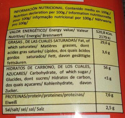 Patatas fritas - Información nutricional - es