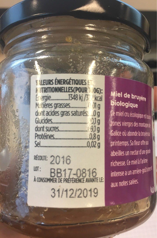 Miel bio de bruyere des montagnes de Galice - Nutrition facts - fr