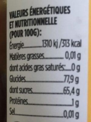 Miel de châtaignier - Nutrition facts