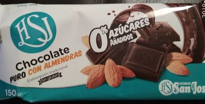 Chocolate puro con almendras 0% azucares