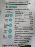 Leche fresca entera - Nutrition facts