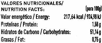 Castañas almíbar ligero - Voedingswaarden