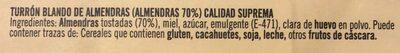 Torró tou d'ametlles - Ingredientes - es