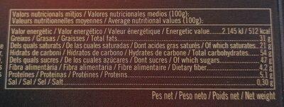 TURRÓN DE COCO BAÑADO CON CHOCOLATE - Informations nutritionnelles