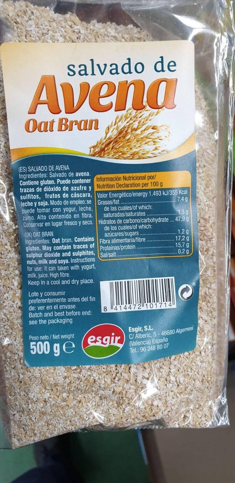 Salvado de avena oat bran - Ingrediënten