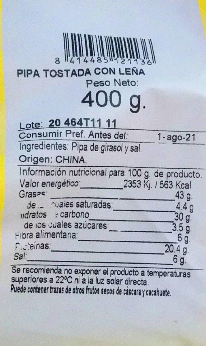 Pipas de girasol - Informations nutritionnelles - es