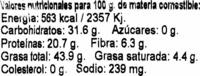 Pipa de girasol tostada con leña - Información nutricional
