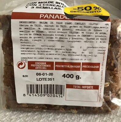 Pan molde integral con 4 cereales y 3 semillas - Informations nutritionnelles - fr