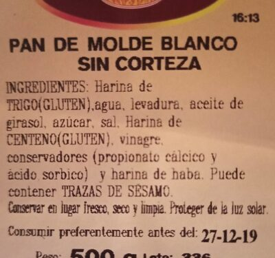 Pan de monde blanco sin corteza - Información nutricional - es