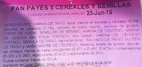 Pan Payés 5 cereales y semillas - Ingrédients - es