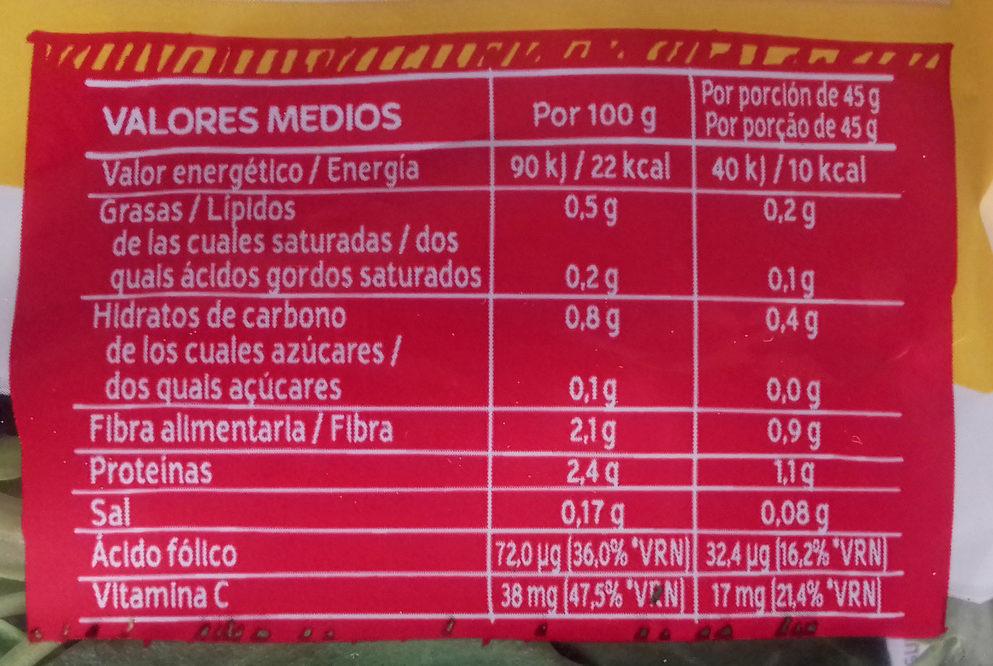 DUO canónigo + rúcula - Nutrition facts