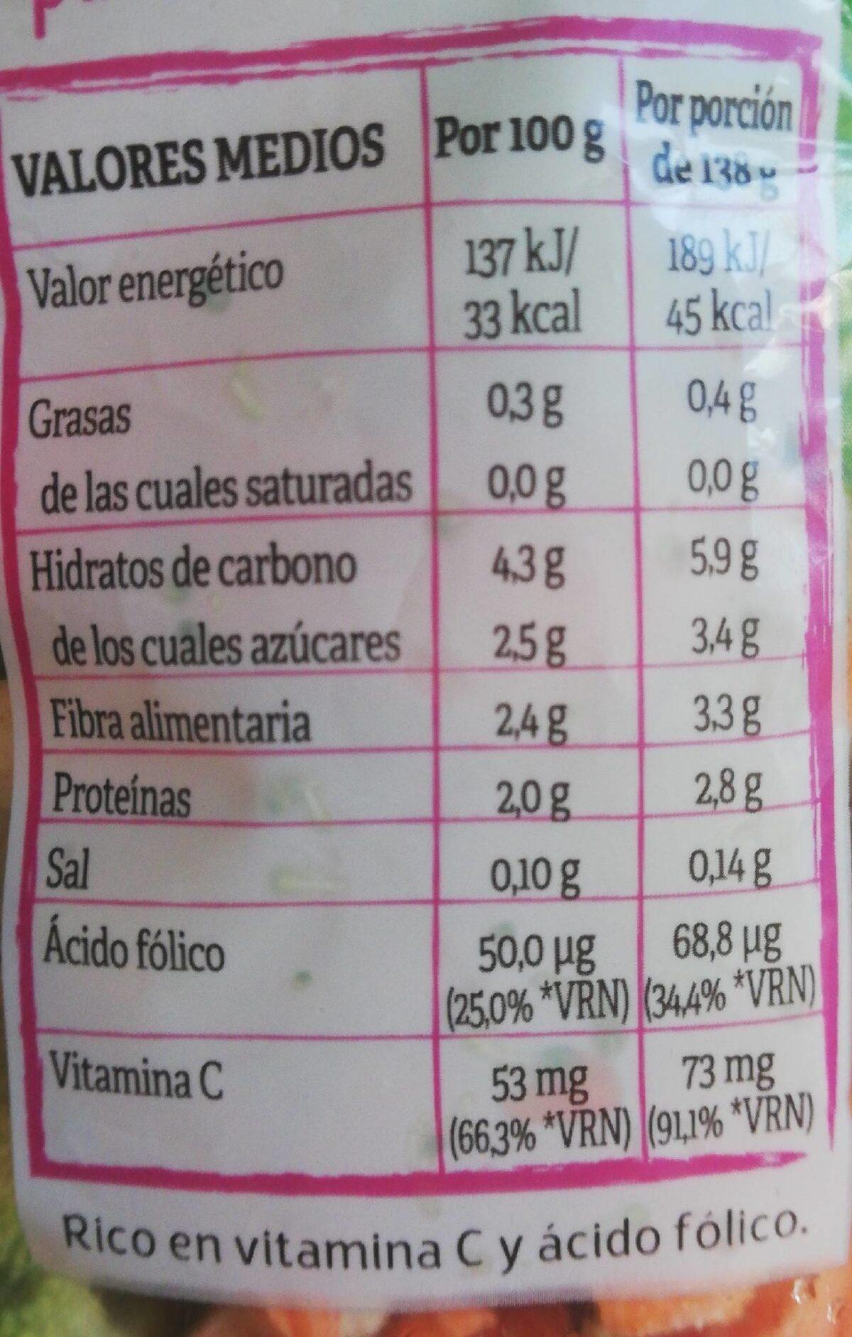 Verduras Para Micro al Vapor - Informació nutricional - es