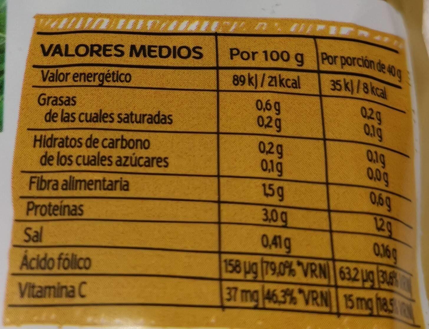Rúcula primeros brotes ensalada individual - Información nutricional - es