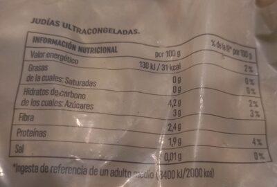 Judía plana troceada - Voedingswaarden - es